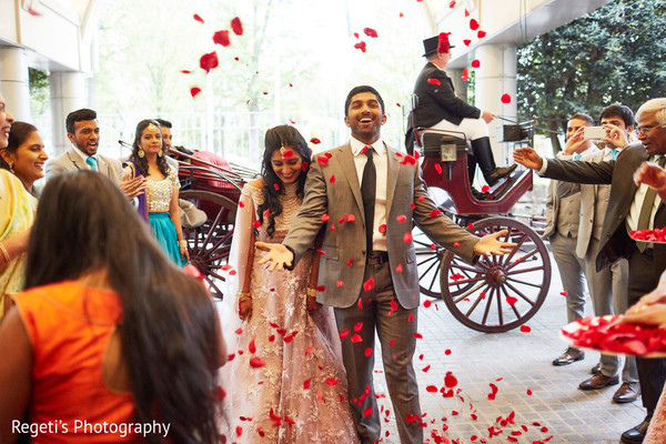 Marvelous Indian couple's entrance to reception party.