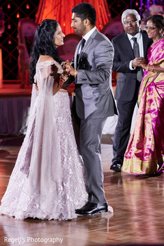 Sweet Indian couple having their first dance.