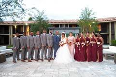 Lovely Indian couple with bridesmaids and groomsmen capture.