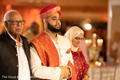 Indian groom with parents