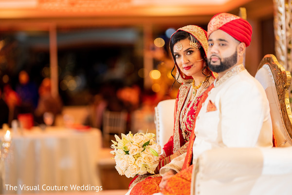 Indian bride and groom during the reception