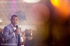Indian groom's wedding reception speech capture.