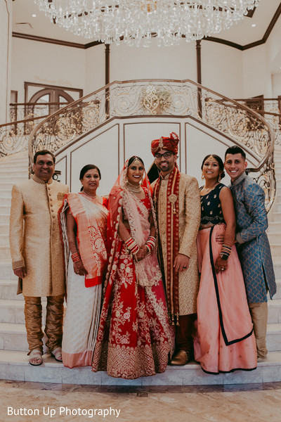 Indian bride and groom's family pictures