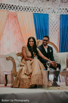 Indian bride and groom at the reception
