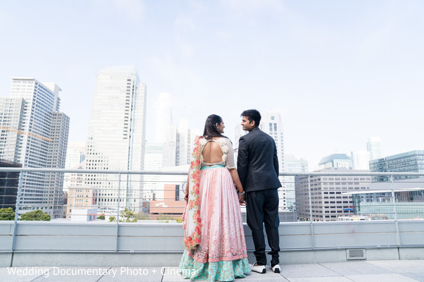 Maharani and Indian groom looking at the amazing view
