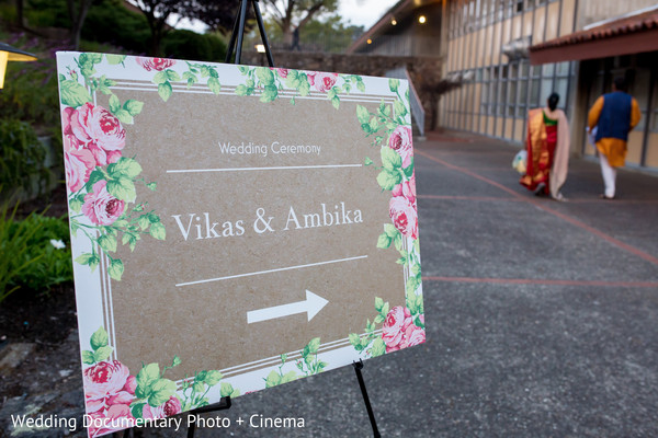 Indian couple's names outside the venue