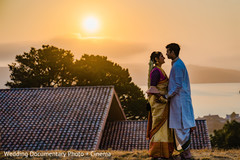 Talented capture of the sunset and the newlyweds