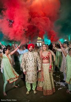 Unique indian newlyweds entrance