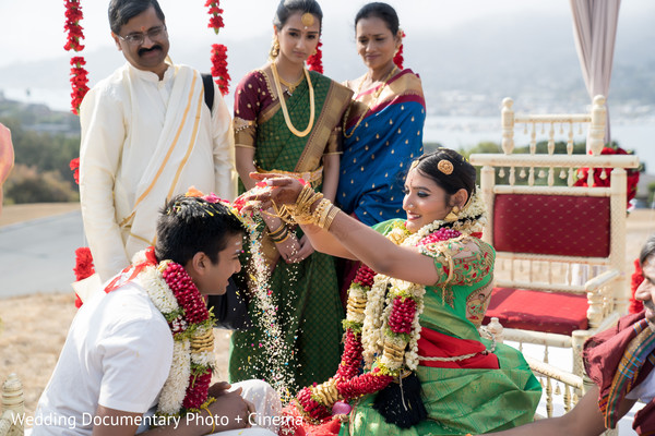 Indian bride and groom's romantic moments