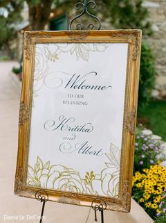 Elegant Indian wedding personalized sign.