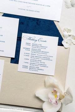 Closeup capture of Indian wedding invitations.