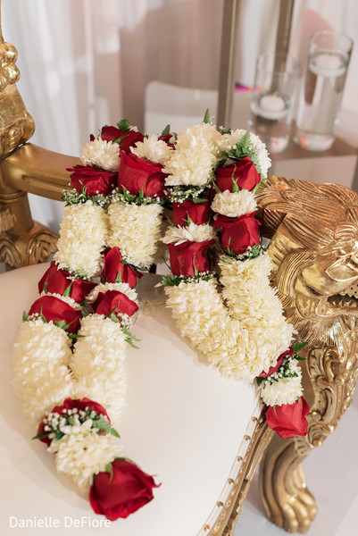 Indian couple's  garlands for jaimala ceremony.