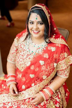 Indian bride ready for wedding ceremony.