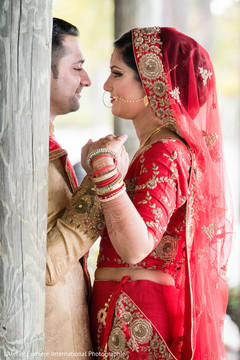 Indian bride and groom's romantic photo