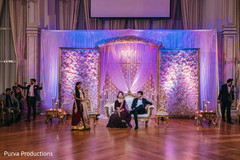 Magnificent Indian wedding reception speech scene.