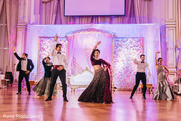 Marvelous Indian couple choreography at reception party.