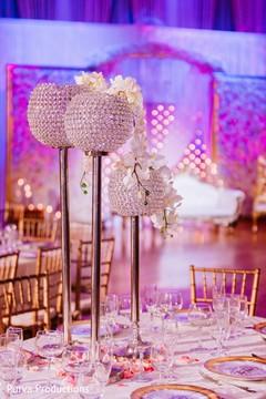 Elegant Indian wedding reception table decor.