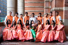 Outdoor themed indian couple with bridesmaids and groomsmen.