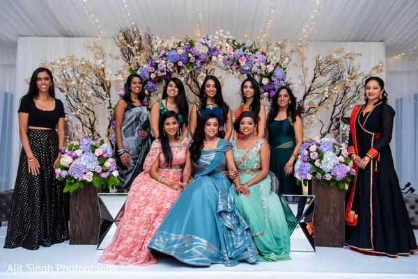 Fascinating indian bride and bridesmaids reception fashion.
