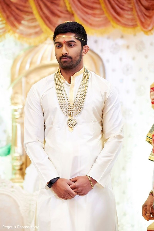 Indian groom at his wedding ceremony.
