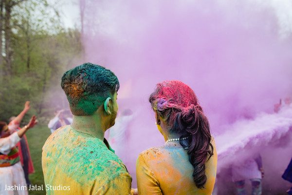 Indian couple with paint