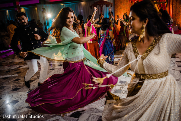Lovely Indian wedding guests dancing