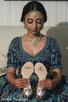 Personalized Indian bridal wedding shoes.