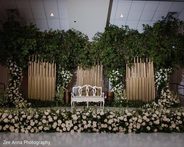 indian wedding reception,indian wedding flower decor,stage decor