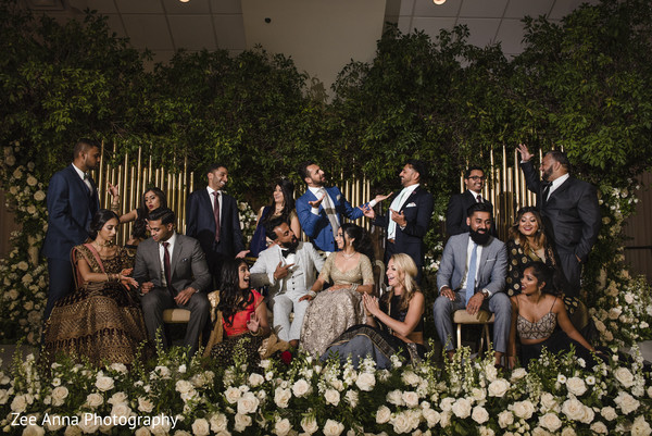 Sensational indian couple with bridesmaids and groomsmen photo shoot.