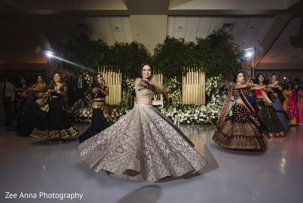 maharani,indian bridesmaids,indian wedding reception,dance