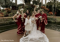 Lovely capture of Indian bride, flower girls and bridesmaids capture.