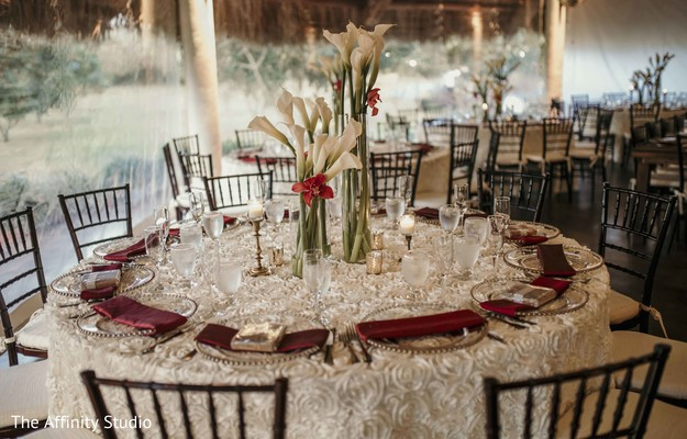 Elegant Indian wedding table setup.