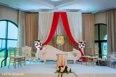 Elegant Indian wedding ceremony stage.