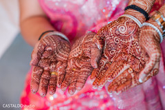 Indian bridesmaids showing their mehndi art.