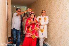 Indian parents at milni rituals.