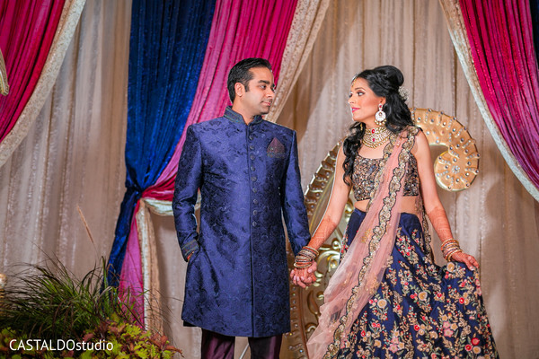 Dreamy indian couple's sangeet photo shoot.