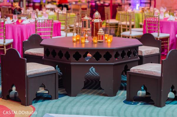 Wonderful Indian pre-wedding sangeet table setup.
