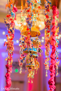 Marvelous sangeet hanging decorations.