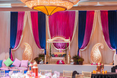 Magnificent Sangeet stage decoration capture.