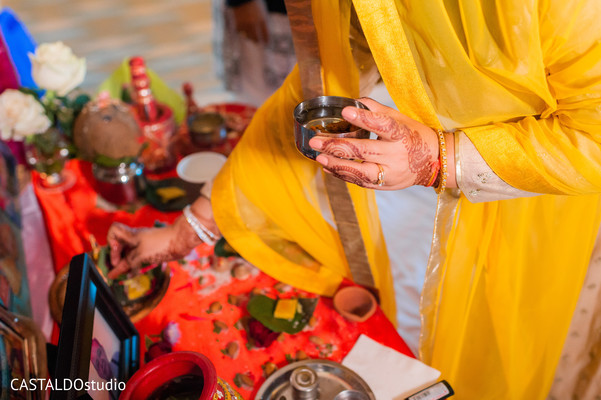 Closeup capture of Indian pre-wedding ritual items.