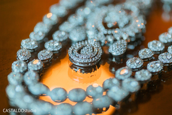 Closeup capture of Indian bridal earrings and necklace.