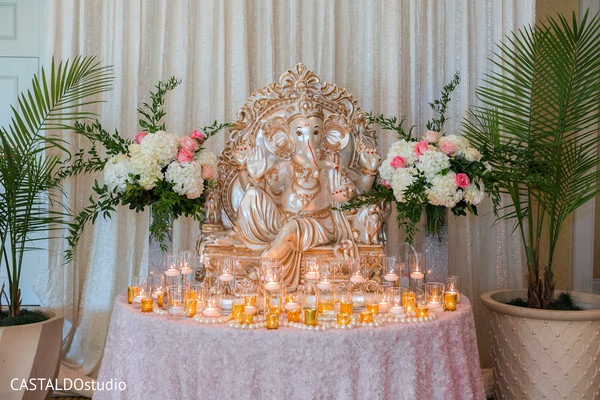 ganesha puja,indian wedding decor,flowers decor