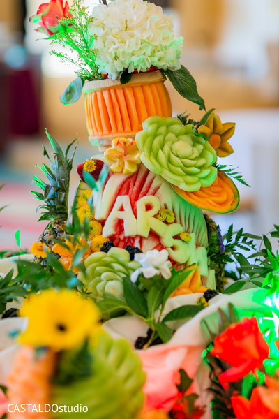 Marvelous Indian wedding personalized fruits decoration.