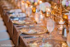 Elegant Indian wedding tableware.
