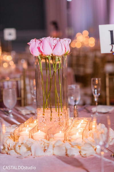Beautiful Indian wedding reception floral centerpiece.