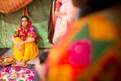 Indian bride during the pre wedding rituals