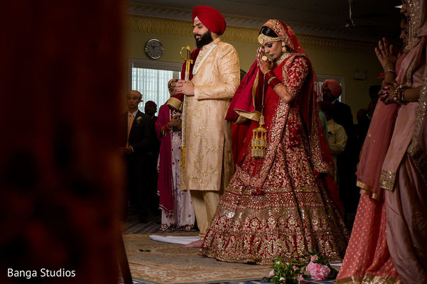 Indian bride and groom at the wedding venue