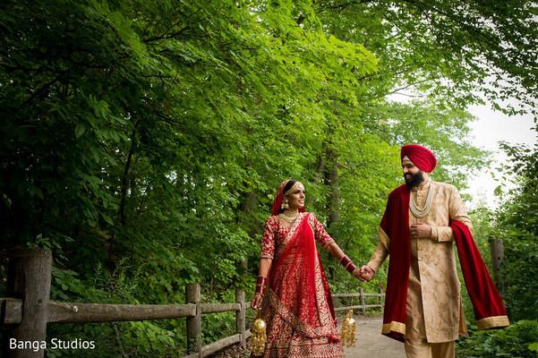Maharani and Raja walking outside