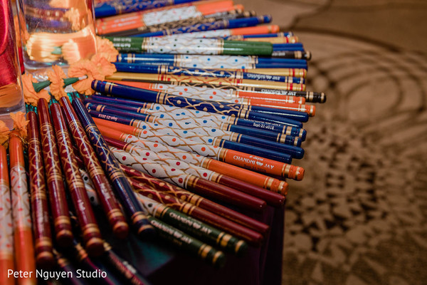 Close up capture of objects at the Indian wedding venue