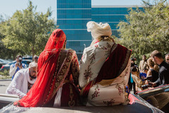 Indian bride and groom on their ride